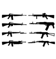 Silhouettes of machine guns vector image