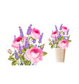 the rose and lavender bouquet vector image vector image