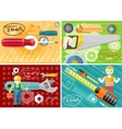 Turn-screw saw toolbox and wrench in hands vector image vector image