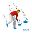 winter sports - curling player clear way to stone vector image vector image