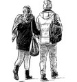young couple on a stroll vector image vector image