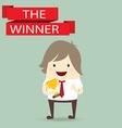 businessman hold golden metal trophy cup winner vector image