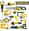 Power Tools Yellow Black Pictograms Collection vector image