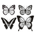 butterfly silhouette icons set vector image