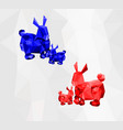 abstract of low poly red and blue rabbit with gray vector image vector image