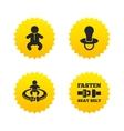 Baby infants icons Fasten seat belt symbols vector image vector image
