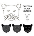 Black panther icon in cartoon style isolated on
