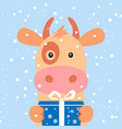christmas card portrait cow with gift box vector image vector image