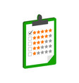 clipboard with rating symbol flat isometric icon vector image vector image