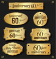 collection of anniversary retro gold labels 60 vector image vector image