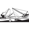 cranes extracting sand from bottom of river vector image vector image