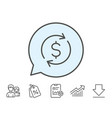 currency exchange line icon money transfer vector image