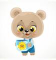 cute cartoon baby bear with a cup tea vector image vector image