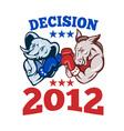 Democrat Donkey Republican Elephant Decision 2012 vector image vector image