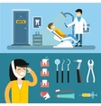 Dentist doctors office and patient with toothache vector image