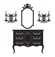 Dressing Table and mirror Frame and wall lamps