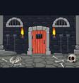 dungeon doors cartoon composition vector image