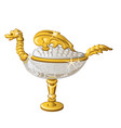 eastern souvenir in the form of a golden oil lamp vector image