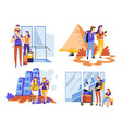 family tourism and couple traveling ancient vector image