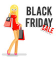 fashionable girl black friday sale shopping bag vector image vector image