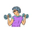 fitness dumbbells sport activity woman grandmother vector image vector image