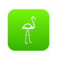 flamingo icon digital green vector image
