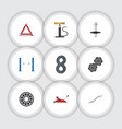 flat icon service set of coupler muffler brake vector image vector image