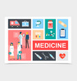 flat medicine elements composition vector image