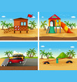 four beach scenes with different playground and vector image vector image
