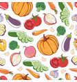 fresh organic vegetables seamless pattern vector image