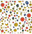 fruits seamless pattern on white background vector image vector image