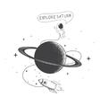 Funny spaceman exploring Saturn vector image vector image
