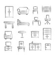 furniture doodle icons vector image vector image