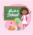 girl with blackboard and global map with books vector image vector image