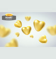 golden realistic hearts isolated on background vector image vector image