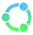 halftone blue-green cooperation icon vector image