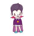 happy boy with vampire halloween costume vector image