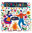 happy couple dancing on a festa junina poster vector image vector image