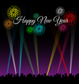 Happy new year text on city night with spotlights vector image vector image