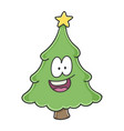 happy smiling christmas tree cartoon character vector image vector image