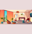 interior hotel bedroom winter resort vector image vector image