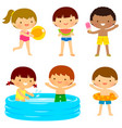 kids at the beach or the pool vector image