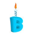 letter b birthday font letter and candle vector image vector image