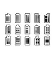 line icons building set on white background black vector image vector image