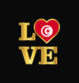 love typography tunisia flag design gold lettering vector image vector image
