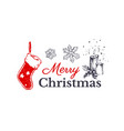 merry christmas hand drawn card design vector image vector image
