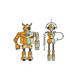 pair of colorful funny cartoon robots isolated vector image