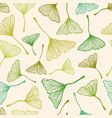 pattern with green ginkgo biloba leaves vector image vector image