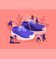 people wearing sneakers concept sportsmen and vector image vector image