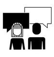 portrait woman and man team work speech bubble vector image